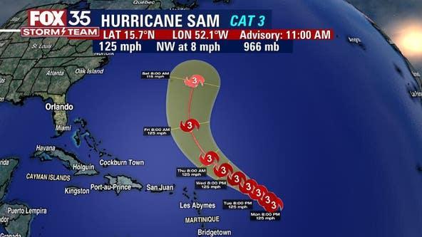 Sam downgrades into Category 3 hurricane while moving across Atlantic