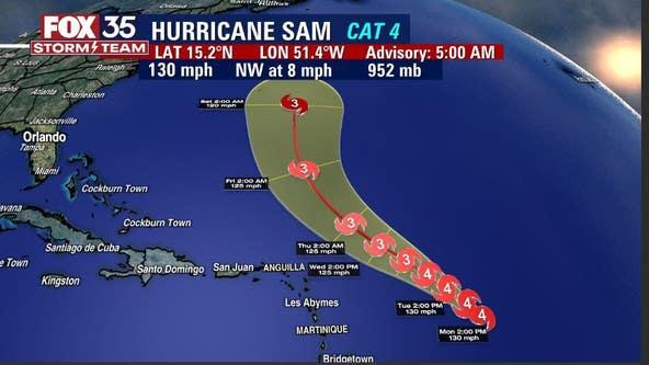 Sam continues trek across Atlantic as Category 4 hurricane