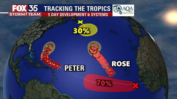 Peter and Rose churn through the Atlantic as tropical storms