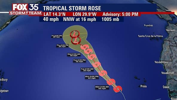 Tropical Storm Rose forms in Atlantic; NHC tracks additional wave off African Coast