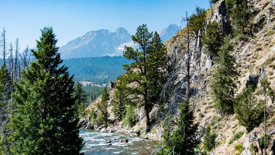 Scenic view of Salmon River and Sawtooth Mountains near Stanley Idaho
