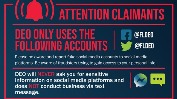 Florida Dept. of Economic Opportunity warns claimants of fake social media accounts