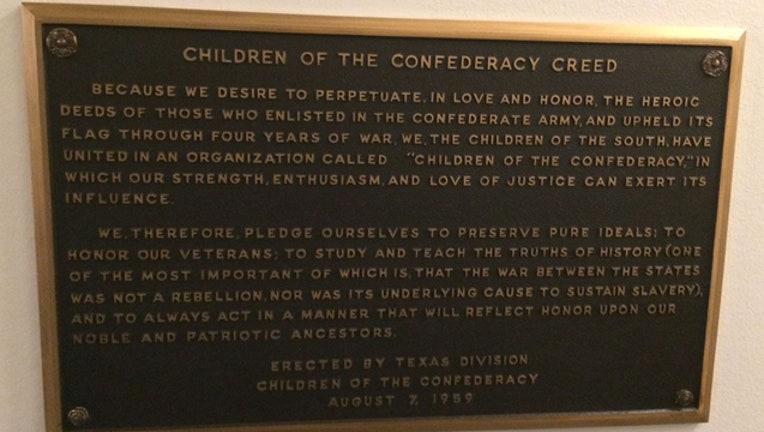 Texas capitol confederate plaque