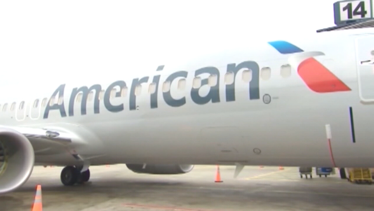 American Airlines plane at gate