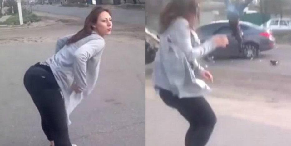 Girl in yoga pants twerking Watch Twerking Woman Distracts Drivers Causes Head On Crash