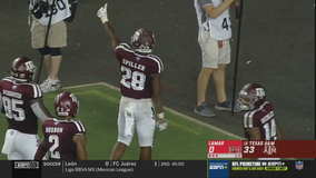 Spiller helps No. 16 Texas A&M to 62-3 rout of Lamar