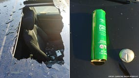 Dry shampoo explodes inside woman's car, shattering sunroof and cracking center console