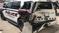 Lewisville police vehicle struck by suspected drunk driver on I-35