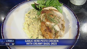 Garlic Herb Pesto Chicken Breast with Creamy Basil Orzo