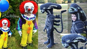 Mom spends up to 50 hours crocheting amazing Halloween costumes including 'Alien,' 'Pennywise'
