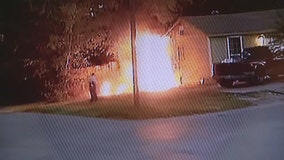 Surveillance video shows man torching Fort Worth home