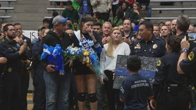 Police officers show support for daughter of officer killed in 2016 Downtown Dallas ambush