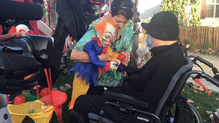 A mother has created an elaborate Halloween display at her San Jose home for her terminally-ill son.