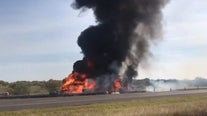 Multiple people dead, 3 injured after crash leads to vehicle explosion on I-35W in Denton