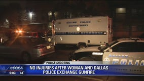 No injuries after woman and Dallas police exchange gunfire