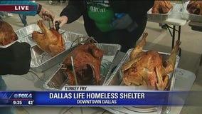 Dallas homeless shelter fries turkeys