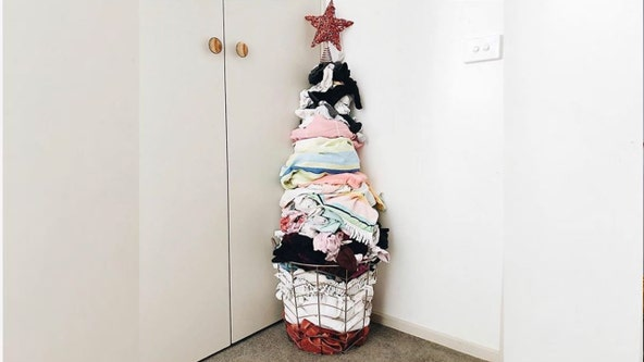 This mom's Christmas tree made of laundry is the most relatable holiday decor ever