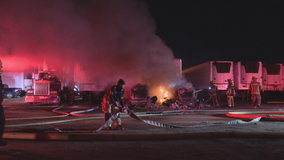 Fire at truck yard destroys several 18-wheelers
