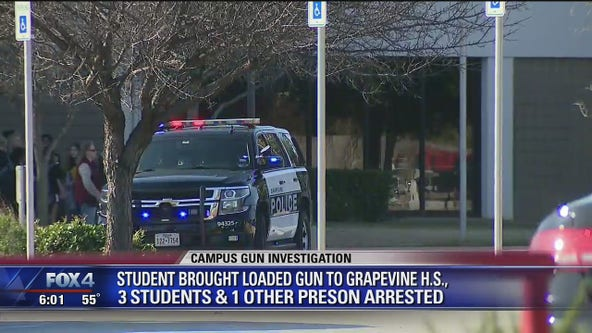 Three students, one other person arrested after gun found at Grapevine High School