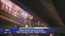 2 men killed after pickup lands in Trinity River