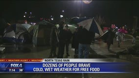 Chick-fil-A fans brave the rain and cold for free food