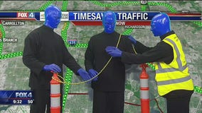 Blue Man Group takes over Chip Waggoner's traffic report