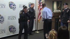 New Irving officer surprised by military son during swearing-in ceremony