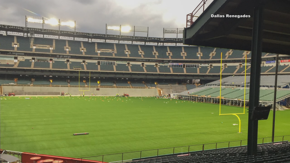 Globe Life Park beginning to look like a football stadium