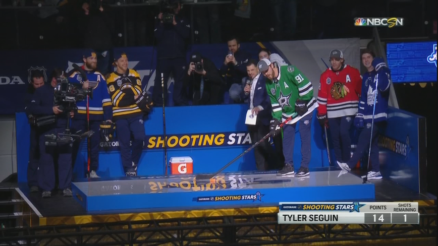 Seguin represents Stars as shots from stands highlight NHL skills event