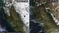 Side-by-side photos: Sierra snow pack below normal, drought returns to California