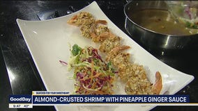 Almond-Crusted Jumbo Shrimp Pineapple Ginger Sauce