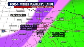 North Texans prepare for possible sleet and snow on Wednesday