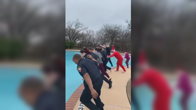 Argyle police officers take a polar plunge for charity in freezing weather