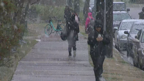 Snow and sleet falls in parts of Tarrant, Denton counties Wednesday afternoon