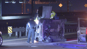 Car flips on side after driver hits Fort Worth police vehicle that was diverting traffic