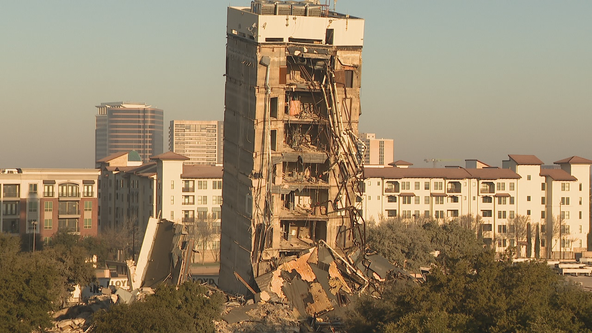'Leaning Tower of Dallas' set for second demolition attempt Monday