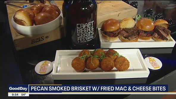 Pecan Smoked Brisket with Fried Mac & Cheese Bites