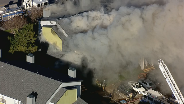 Crews battle three-alarm apartment complex fire in Fort Worth