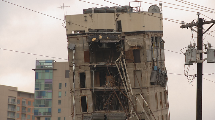 'Leaning Tower of Dallas' still standing as removal plans get finalized