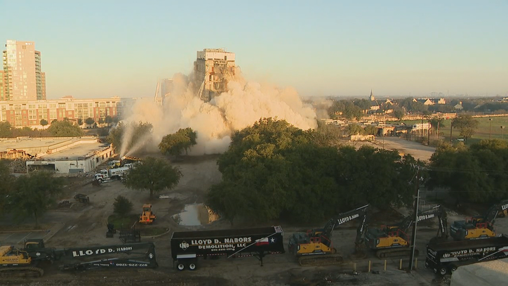 Part of Dallas building stays up after Sunday morning implosion