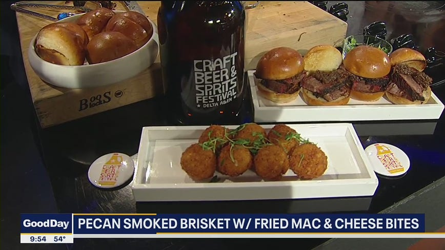 Pecan Smoked Brisket with Fried Mac & Cheese Bites