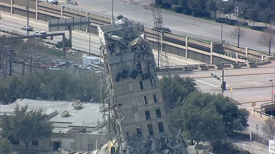 'Leaning Tower of Dallas' demolition could take days or weeks, company says after Day 2 of work