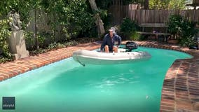 Man drives boat in pool to satisfy urge during coronavirus outbreak