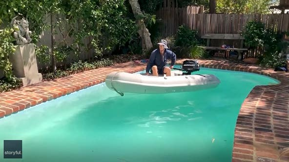 Man drives boat in pool to satisfy urge during coronavirus outbreak