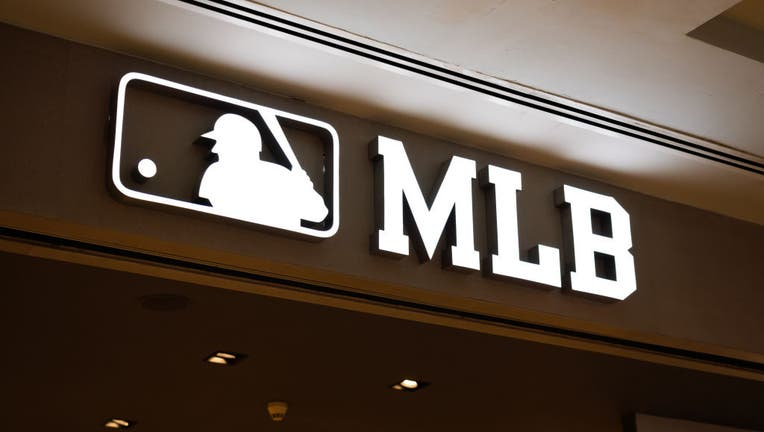 Major League Baseball, or MLB, logo seen in Shanghai