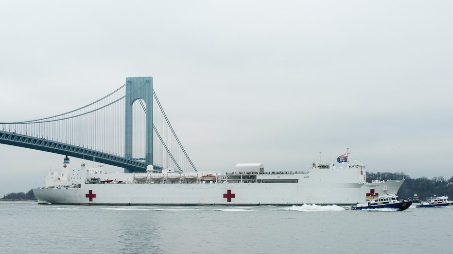 Coast Guard escorts USNS Comfort into New York Harbor