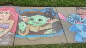 Dad creates stunning Disney sidewalk art to brighten Lutz neighborhood