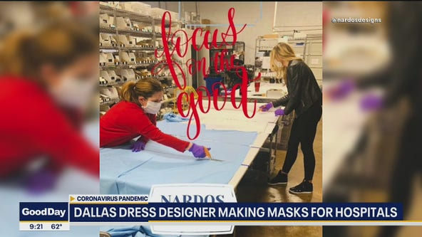 Dress designer helping to make face masks for hospitals