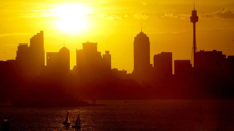 Sun setting on Sydney before a predicted 42 degrees scorcher tomorrow, 29 Novemb