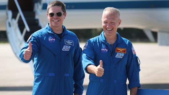 Astronauts arrive at Kennedy Space Center ahead of historic launch